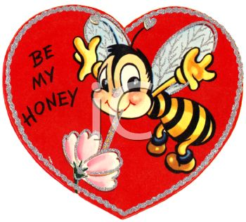 Retro Valentine's Day Card with a Bee Asking to Be My Honey
