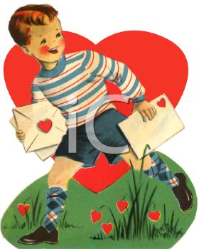 Retro Little Boy Carrying Valentine's Cards