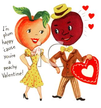 Old Fashioned Valentine of Peach Woman and a Plum Man