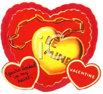 Gold Heart Shaped Locket on a Retro Valentine's Card