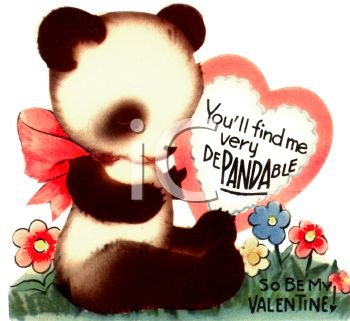 Royalty Free Clipart Image: Baby Panda on a Retro Valentine's Card