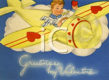 Boy Flying a Plane on a Retro Valentine Card