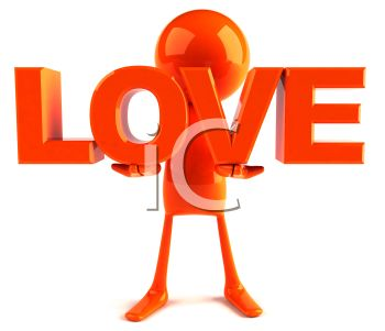 Glossy 3D Man Holding a Love Sign