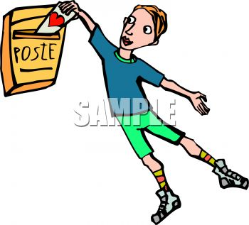 Cartoon of a Boy Putting a Valentine in the Mail