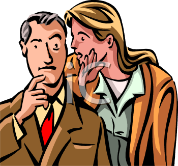Woman Whispering a Good Idea to a Man