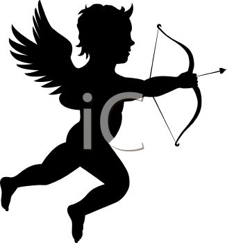 Silhouette of a Cherub or Cupid Shooting a Bow and Arrow
