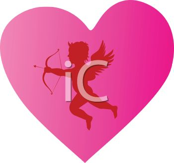 Silhouette of Cupid on a Pink Heart