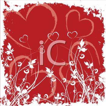 Floral Valentine Design with Hearts and Grasses