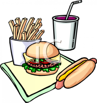 Cartoon of Fast Food Burger Hot Dog and Fries