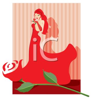 Voluptuous Redhead Wearing a Flowing Red Dress with a Rose