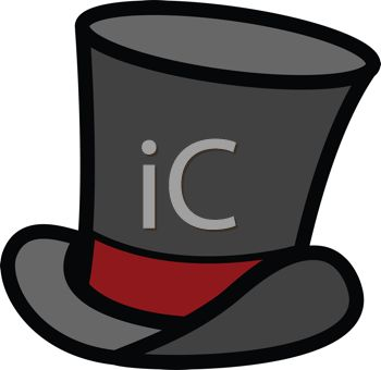 Cartoon Top Hat with a Red Band