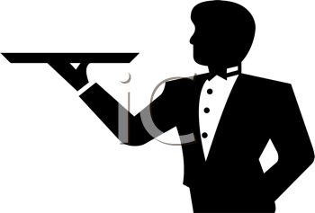 Silhouette of a Butler with a Tray in One Hand