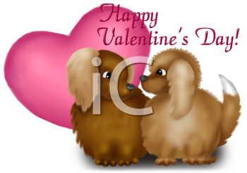 Dogs and a Heart with a Valentine Message