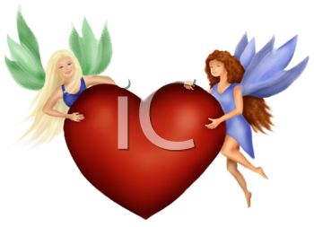 Two Faeries Holding a Heart