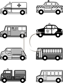 Black and White Collection of Public Vehicles - Royalty Free ...