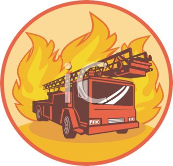 Fire Engine with Flames Symbol