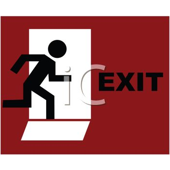 Stick Figure Escaping Through an Emergency Exit Door