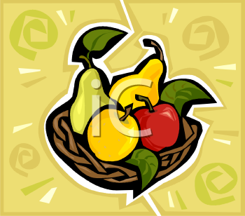 Royalty Free Clipart Image: Fruit Basket of Apples and Pears