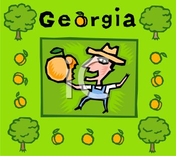 American State-Georgia with a Farmer Holding a Peach