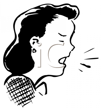 Vintage Cartoon of a Woman Coughing with Germs Coming From Her Mouth