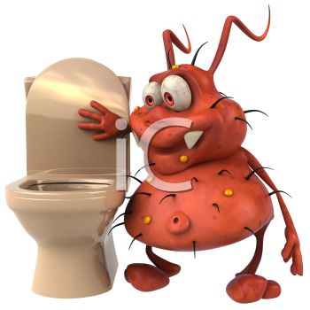 Cartoon of a 3D Virus Bug Looking Into a Toilet