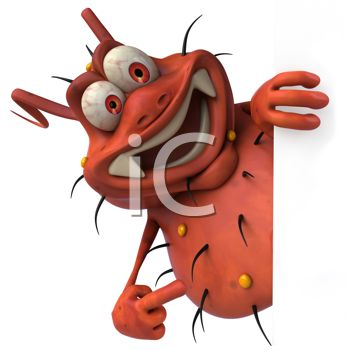 Cartoon of a 3d virus bug or germ smiling - royalty free clipart image