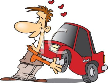 Cartoon of a Happy Man in Love with His New Car