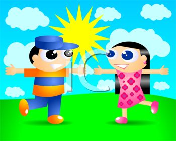 Cute Cartoon Man and Woman Running to Hug on a Sunny Day