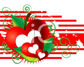 Hearts with an Apple and Stripes Valentine Design