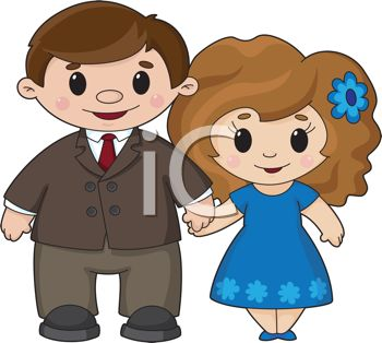 Cute Cartoon Man and Woman Holding Hands in Love