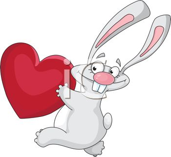 Funny Rabbit Running with a Heart