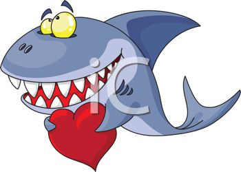 Cartoon of a Smiling Shark Holding a Heart for Valentine's Day