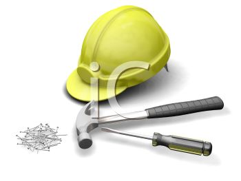 3D Construction Tools-Hard Hat, Hammer, Screwdriver and Nails