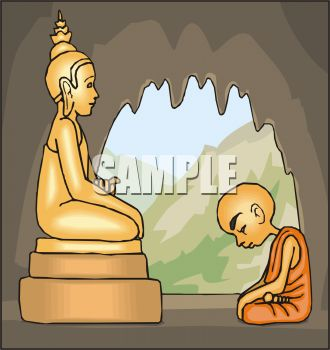 Monk Praying to Buddha in a Cave