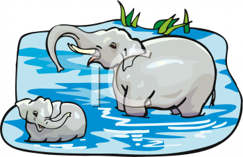royalty free clip art image mother elephant washing her baby in a pond rh clipartguide com pond clip art free pond clip art free