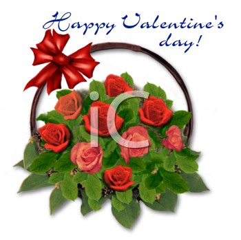 Roses in a Basket with a Happy Valentine's Day Message