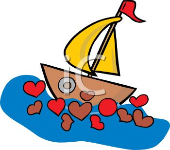 Valentine Sailboat with Hearts in the Water