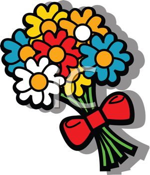 Cartoon Bouquet Of Flowers Royalty Free Clipart Picture