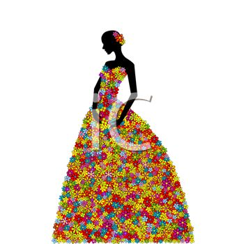 Silhouette of a Woman Wearing a Dress Made of Flowers