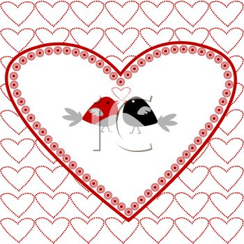 Lovebirds On A Heart Background For Valentine S Day Royalty Free
