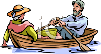 Royalty Free Clip Art Image Elderly Couple Riding In A Rowboat