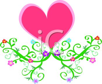 Pink Heart with Vines and Flowers