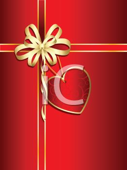 Present Gift Wrapped in Red with a Gold Bow