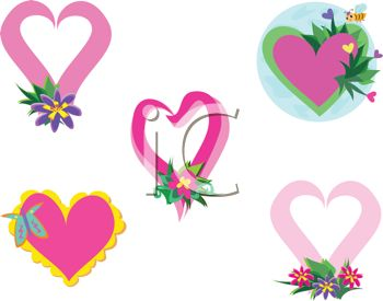 Collection of Valentine Hearts with Flowers and Insects