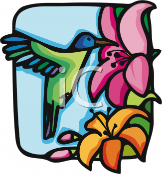 Stained Glass Style Hummingbird Drinking from a Flower