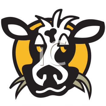 Cow Chewing on Grass Dairy Icon
