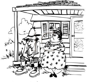 Front Porch Clipart hillbilly couple sitting on their front porch - royalty free clip