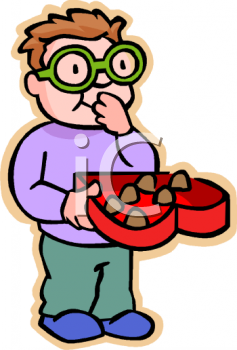 Boy with Glasses Eating Valentine Chocolates