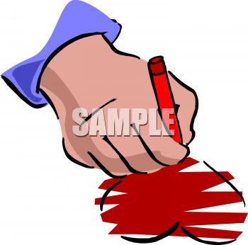 someone coloring in a heart royalty free clipart picture