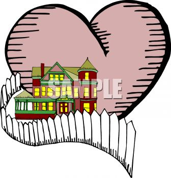Two Story House with a Heart Depicting Home is Where the Heart Is Metaphor